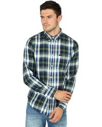 Lee Jeans - Green Checked Long Sve Regular Fit Shirt - Lyst