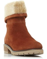 Steve Madden - Tan Suede 'driller' Mid Block Heel Ankle Boots - Lyst