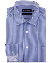 Double Two - Big And Tall Blue Stripe Formal Shirt - Lyst