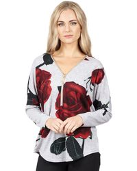 86eafce7043 Izabel London - Grey Zip Detail Floral Print Top - Lyst