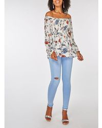 e09f7a48e54b25 Dorothy Perkins Blue Stripe Floral Bardot Top in Blue - Lyst