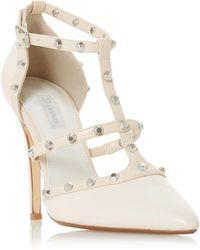 Dune - Ivory Leather 'daeneryss' High Stiletto Heel Court Shoes - Lyst