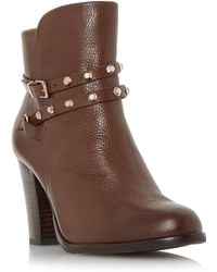 Dune - Tan 'padro' Studded Block Heel Ankle Boot - Lyst