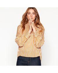 Vero Moda - Yellow Stripe V-neck Shirt - Lyst