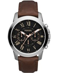 Fossil - Men's Chronograph Leather Strap Watch From The Grant Range Fs4813 - Lyst