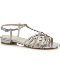 Début - Silver Diamante 'dango' Ankle Strap Sandals - Lyst