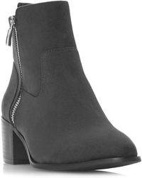 Dune - Grey 'patricia' Mid Block Heel Ankle Boots - Lyst