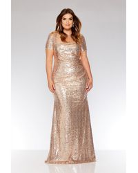 Quiz - Curve Rose Gold Sequin Maxi Dress - Lyst