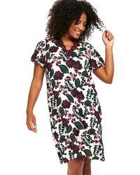 Evans - Berry Floral Short Nightdress - Lyst