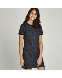 Apricot - Navy Check Ribbed Trim Shift Dress - Lyst