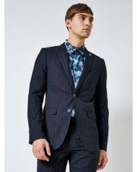 Burton - 1904 Tavistock Navy Pinstripe Slim Fit Suit Jacket - Lyst