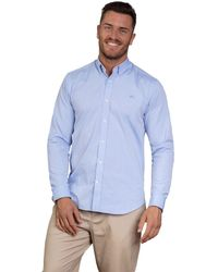 Raging Bull - Sky Blue Long Sleeve Pinpoint Oxford Shirt - Lyst