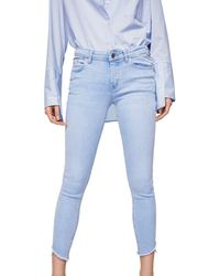 Mango - Blue Light Wash 'isa' Skinny Fit Cropped Jeans - Lyst