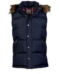 Raging Bull - Navy Gilet With Hood - Lyst