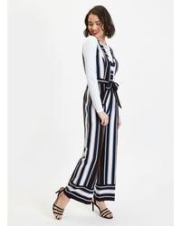 52c58e29c33 Miss Selfridge Striped Twist Front Jumpsuit in White - Lyst