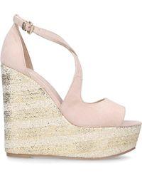 5639e1d720 Miss Kg Cream 'dani' Mid Heel Wedge Sandals in Natural - Lyst