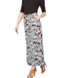 Izabel London - Blue Side Cut Wide Leg Trousers - Lyst