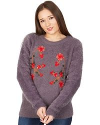 Tenki - Dark Grey Floral Embroidered Jumper - Lyst