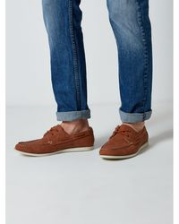 Burton - Tan Leather Look Boat Shoes - Lyst