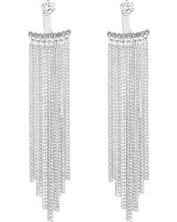 Jenny Packham - Designer Silver Cubic Zirconia Chain Fringe Front And Back Earring - Lyst