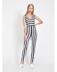 Miss Selfridge - Stripe Unitard Jumpsuit - Lyst