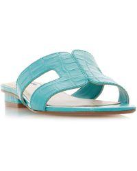 Dune - Turquoise 'loupe' Block Heel Mule Slippers - Lyst
