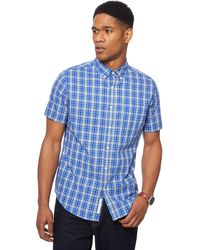 Racing Green - Big And Tall Blue Vibrant Checked Tailored Fit Shirt - Lyst