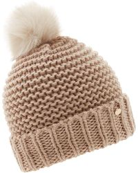 Dune - Light Pink 'festella' Pom Pom Knitted Hat - Lyst