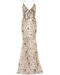 Quiz - Champagne Sequin Cross Back Fishtail Maxi Dress - Lyst
