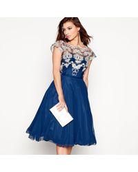 Lipsy - Navy Lace 'riri' Cap Sleeves Evening Dress - Lyst
