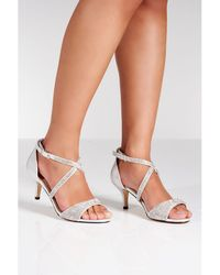Quiz - Silver Shimmer Diamante Low Heel Sandals - Lyst