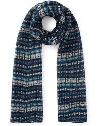 Eastex - Water Brushstroke Blue Silk Scarf - Lyst