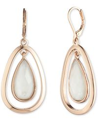 Anne Klein - Rose Gold 'aventura' Teardrop Earrings - Lyst