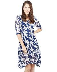 Izabel London - Navy Butterfly Print Dress - Lyst