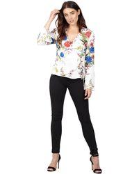 Izabel London - White Floral Print Ruffle Sleeve Wrap Top - Lyst