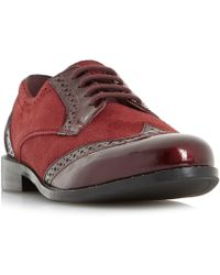 Dune - Dark Red 'foxxy' Mix Material Lace Up Brogues - Lyst