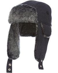 J By Jasper Conran - Dark Grey Melton Trapper Hat With Wool - Lyst