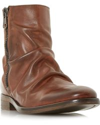 Bertie - Tan 'coppers' Ruched Leather Zip Boots - Lyst