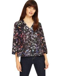 bb05b6961374ca Phase Eight Petrol Multi-coloured Zadie Floral Tie Hem Blouse in ...