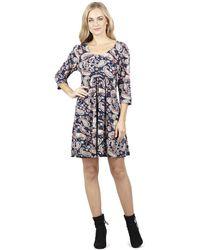 Izabel London - Navy 3/4 Sleeve Printed Tunic Dress - Lyst