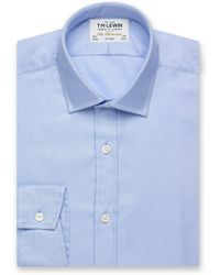 Tm Lewin - Fitted Plain Blue Luxury Twill Button Cuff Long Sleeve Length Shirt - Lyst