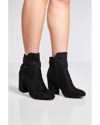 Quiz - Black Faux Suede Wrap Ankle Boots - Lyst