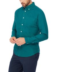 Racing Green - Turquoise Long Sleeves Tailored Fit Oxford Shirt - Lyst