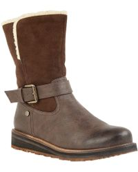 Lotus - Brown 'omar' Wedge Heel Calf Boots - Lyst