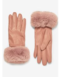 Dorothy Perkins - Blush Faux Fur Trim Gloves - Lyst