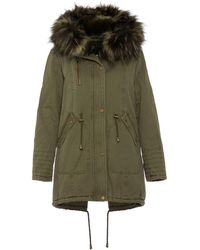 Quiz - Khaki Faux Fur Lined Embroidered Parka Jacket - Lyst