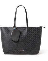 Calvin Klein Must Medium Shopper Met Logodessin En Uitneembaar Etui - Zwart