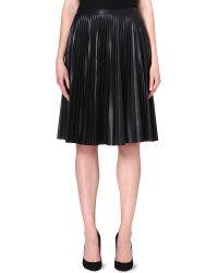 Max Mara Studio Larix Faux Leather Pleated Skirt Black - Lyst