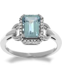 Lord & Taylor - 14kt. White Gold Diamond And Aqua Ring - Lyst
