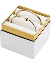 Michael Kors Gold Tone Crystal Bracelet Set - Lyst
